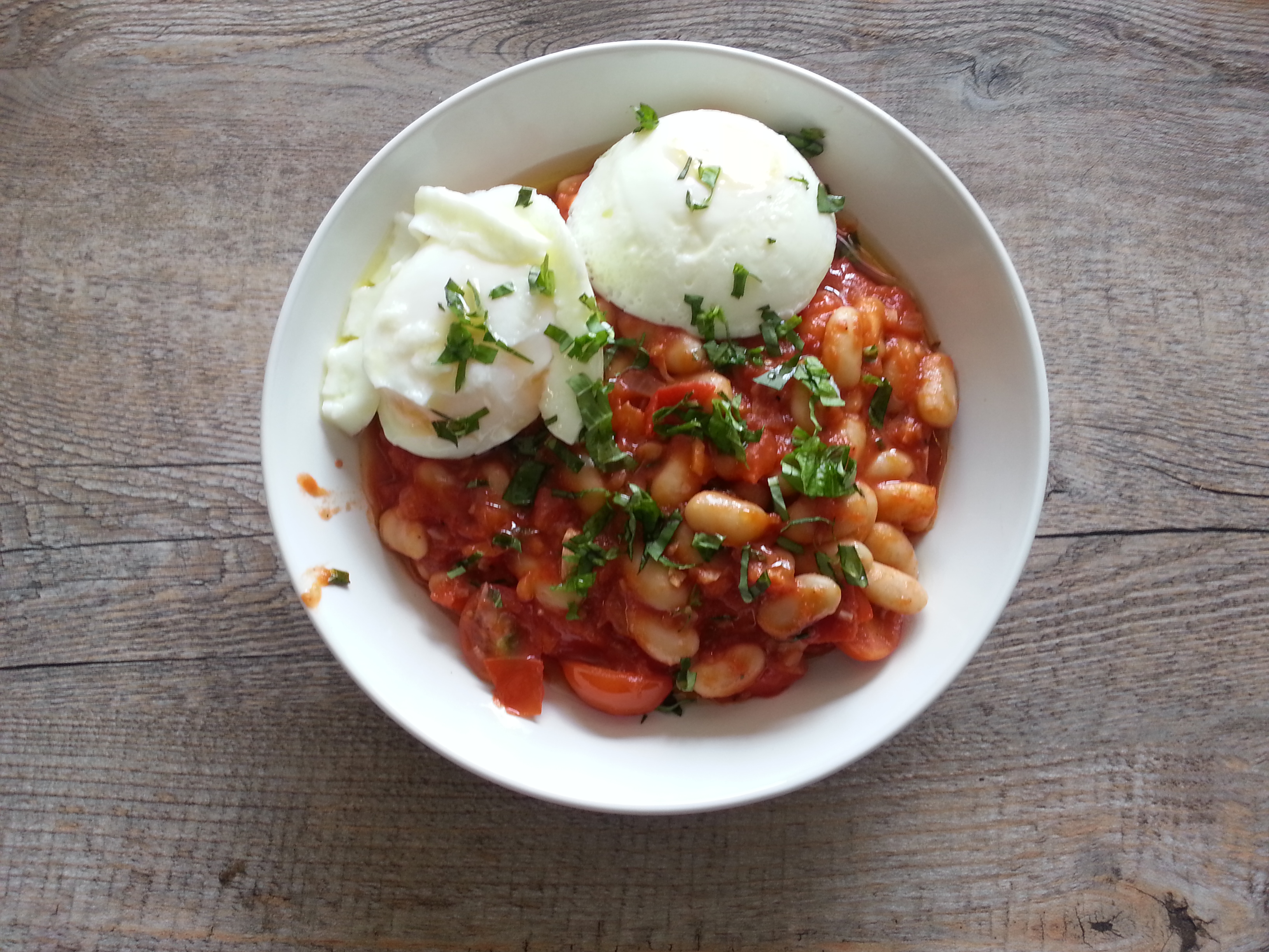 Cannellini beans with poached eggs