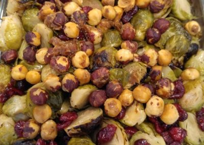Roasted brussel sprouts, roasted hazelnuts, cranberries