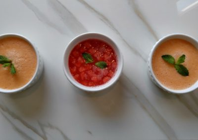 Cantaloupe and rosewater and watermelon and mint gazpacho