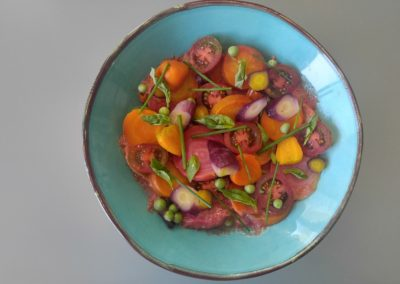 Beet and carrot salad in tomato broth