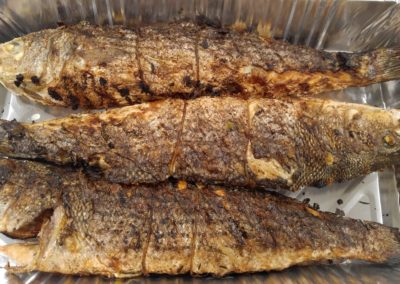 Grilled and stuffed Striped Bass