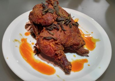 Sage fried chicken, red rooster and honey glaze